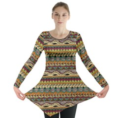 Aztec Pattern Long Sleeve Tunic  by BangZart