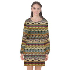 Aztec Pattern Long Sleeve Chiffon Shift Dress  by BangZart