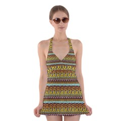 Bohemian Fabric Pattern Halter Swimsuit Dress by BangZart