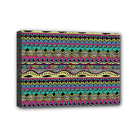 Aztec Pattern Cool Colors Mini Canvas 7  X 5  by BangZart
