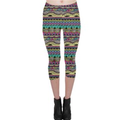 Aztec Pattern Cool Colors Capri Leggings  by BangZart