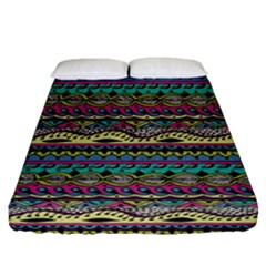 Aztec Pattern Cool Colors Fitted Sheet (queen Size) by BangZart