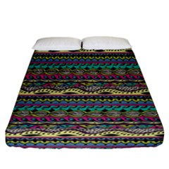 Aztec Pattern Cool Colors Fitted Sheet (california King Size) by BangZart