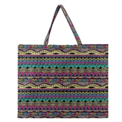 Aztec Pattern Cool Colors Zipper Large Tote Bag by BangZart