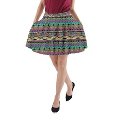 Aztec Pattern Cool Colors A Line Pocket Skirt by BangZart