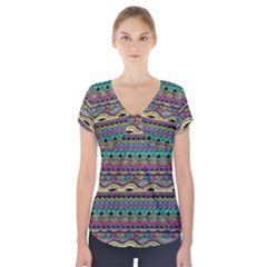 Aztec Pattern Cool Colors Short Sleeve Front Detail Top by BangZart