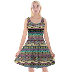 Aztec Pattern Cool Colors Reversible Velvet Sleeveless Dress by BangZart