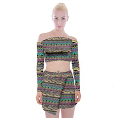 Aztec Pattern Cool Colors Off Shoulder Top With Skirt Set