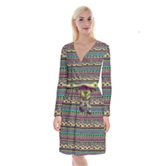 Aztec Pattern Cool Colors Long Sleeve Velvet Front Wrap Dress by BangZart