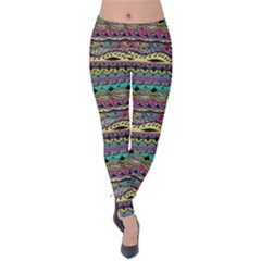 Aztec Pattern Cool Colors Velvet Leggings