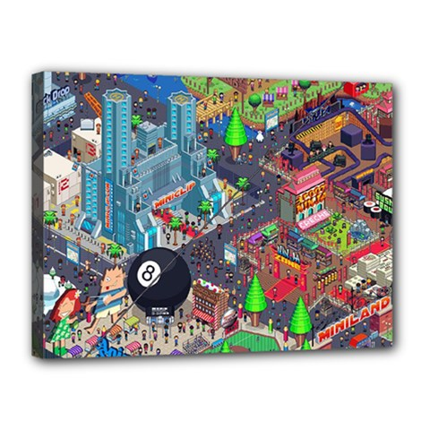 Pixel Art City Canvas 16  X 12  by BangZart
