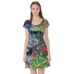 Pixel Art City Short Sleeve Skater Dress by BangZart