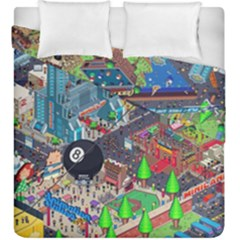 Pixel Art City Duvet Cover Double Side (king Size) by BangZart