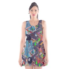 Pixel Art City Scoop Neck Skater Dress by BangZart