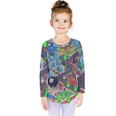 Pixel Art City Kids  Long Sleeve Tee by BangZart