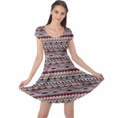 Aztec Pattern Patterns Cap Sleeve Dresses by BangZart