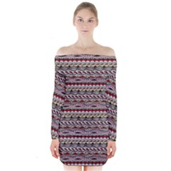 Aztec Pattern Patterns Long Sleeve Off Shoulder Dress by BangZart