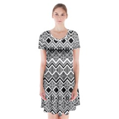 Aztec Design  Pattern Short Sleeve V Neck Flare Dress by BangZart