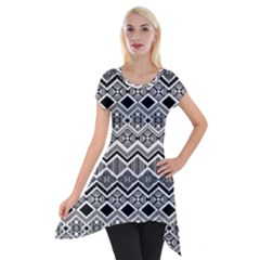 Aztec Design  Pattern Short Sleeve Side Drop Tunic by BangZart