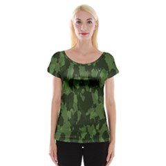 Camouflage Green Army Texture Cap Sleeve Tops by BangZart