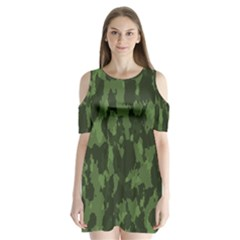 Camouflage Green Army Texture Shoulder Cutout Velvet  One Piece by BangZart
