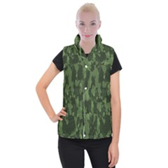 Camouflage Green Army Texture Women s Button Up Puffer Vest