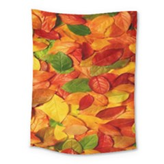 Leaves Texture Medium Tapestry by BangZart