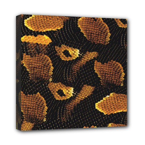 Gold Snake Skin Mini Canvas 8  X 8  by BangZart