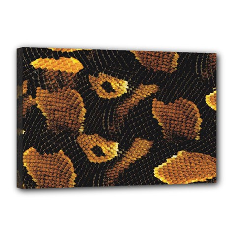 Gold Snake Skin Canvas 18  X 12  by BangZart