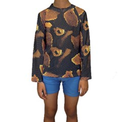 Gold Snake Skin Kids  Long Sleeve Swimwear by BangZart