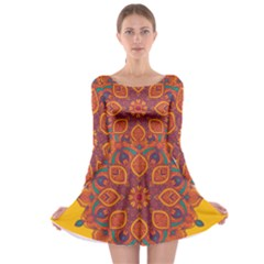Ornate Mandala Long Sleeve Skater Dress