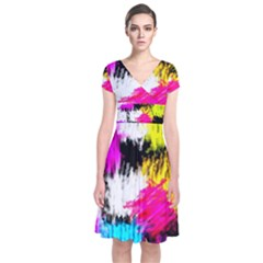 Colorful Blurry Paint Strokes                    Short Sleeve Front Wrap Dress by LalyLauraFLM