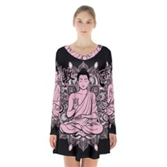 Ornate Buddha Long Sleeve Velvet V Neck Dress by Valentinaart