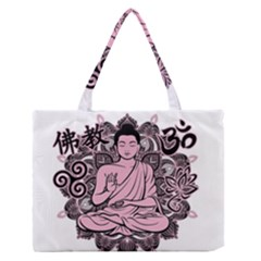 Ornate Buddha Medium Zipper Tote Bag by Valentinaart