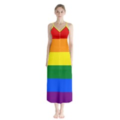 Pride Rainbow Flag Button Up Chiffon Maxi Dress by Valentinaart