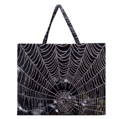Spider Web Wallpaper 14 Zipper Large Tote Bag by BangZart
