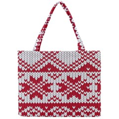 Crimson Knitting Pattern Background Vector Mini Tote Bag by BangZart
