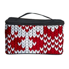 Crimson Knitting Pattern Background Vector Cosmetic Storage Case by BangZart