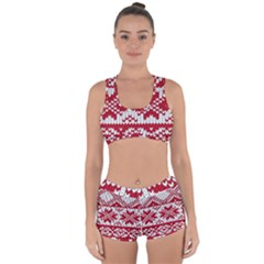 Crimson Knitting Pattern Background Vector Racerback Boyleg Bikini Set