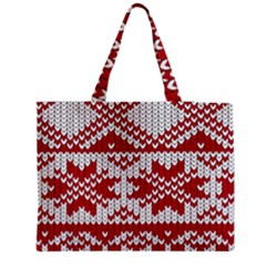 Crimson Knitting Pattern Background Vector Medium Zipper Tote Bag by BangZart