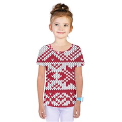 Crimson Knitting Pattern Background Vector Kids  One Piece Tee by BangZart