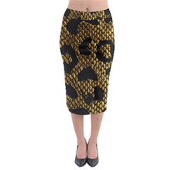 Metallic Snake Skin Pattern Midi Pencil Skirt