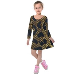 Metallic Snake Skin Pattern Kids  Long Sleeve Velvet Dress