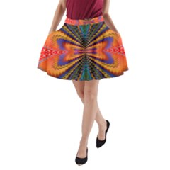 Casanova Abstract Art Colors Cool Druffix Flower Freaky Trippy A Line Pocket Skirt by BangZart