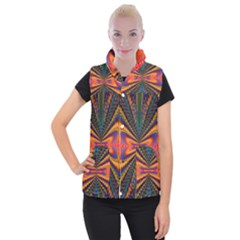Casanova Abstract Art Colors Cool Druffix Flower Freaky Trippy Women s Button Up Puffer Vest