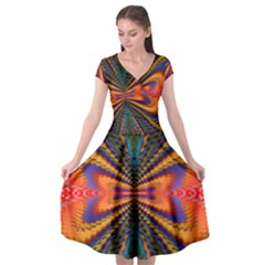 Casanova Abstract Art Colors Cool Druffix Flower Freaky Trippy Cap Sleeve Wrap Front Dress by BangZart