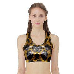 Textures Snake Skin Patterns Sports Bra With Border