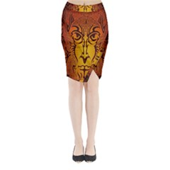 Lion Man Tribal Midi Wrap Pencil Skirt