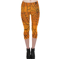 Vector Seamless Pattern With Spider Web On Orange Capri Leggings  by BangZart