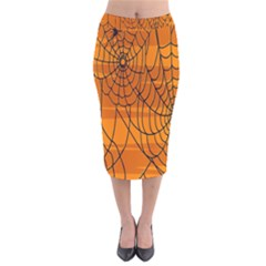 Vector Seamless Pattern With Spider Web On Orange Velvet Midi Pencil Skirt by BangZart